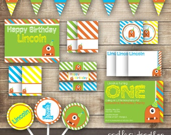 Monster Birthday PARTY PACKAGE / Boy's Birthday Monster Party Kit / 1st, 2nd, 3rd, etc. / Green, Turquoise, Orange & Yellow  - Printable