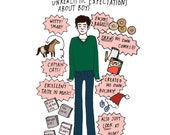 Seth Cohen Print - 8.5x11 - Hand-Illustrated