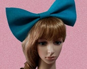 Turquoise big bow headband/hair/head piece/felt/extra large huge/birthday party/costume/bunny/dolly/tie/pin up/club/cosplay/hens night/blue