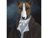 Bull Terrier Prints, Rufus, Anthropomorphic Dog Art, Dogs in Clothes