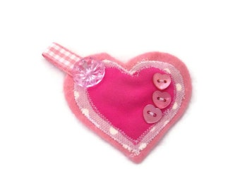 Womens Heart Brooch.  Pink Jacket Pin.  CLEARANCE SALE