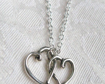 Double Entwined Heart Charm necklace - Sterling Silver Chain with Antiqued Heart Charm