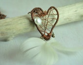 Bohemian Dream Catcher Heart Necklace, with White Feathers and a Freshwater Pearl