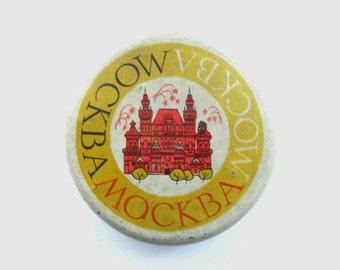 Soviet Vintage Moscow tin box Round tin box Kremlin Russia Soviet Union USSR era 1950s