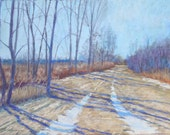 """Original Pastel Landscape Painting, spring, dirt road, country scene, melting snow, sunshine, trees - """"Last of the Snow"""" by Colette Savage"""