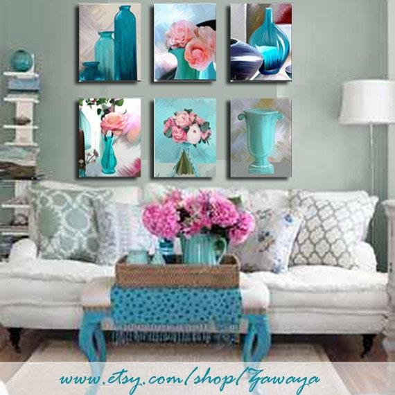 15 Sale Turquoise Pink Home Decor Art Print On Canvas By