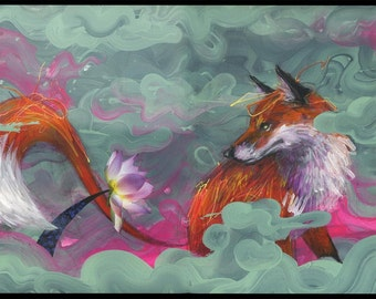 Fox Art Print - Fox Artwork - Wall Art - Wall Decor - Mixed Media Art - In Bloom by Black Ink Art