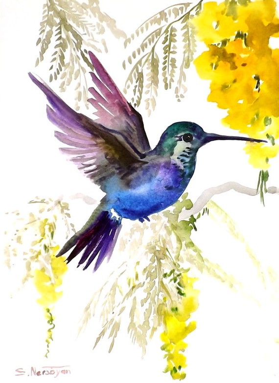 Hummingbird original watercolor painting 9 X 12 tropical