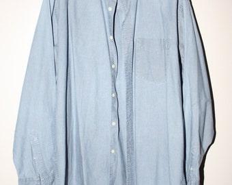 SALE 5 Dollars OFF Marks & Spencer Denim Blue 90s 80s Shirt