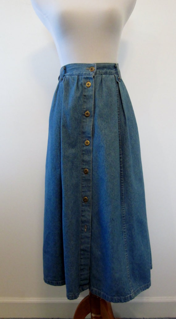 Vintage Denim Skirt Elastic Waist Button Front Wrap Skirt Long