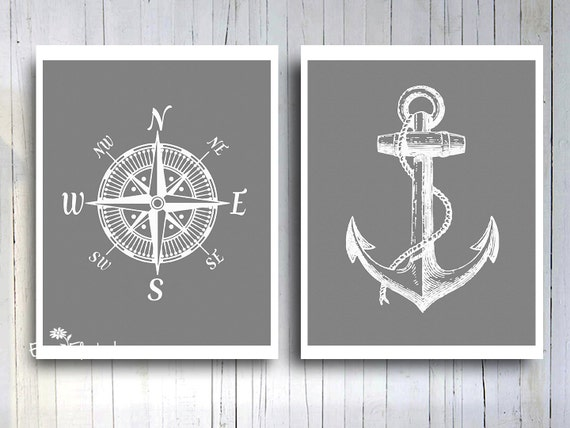 Nautical compass rose anchor art print rustic vintage gray and white