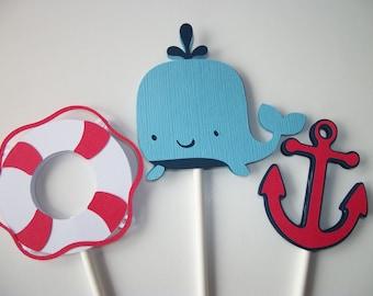 12 (3 Designs) Nautical Cupcake Toppers, Cupcake Toppers, Whale Cupcake Toppers, Anchor Cupcake Toppers
