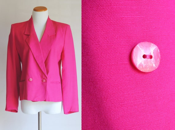 CLEARANCE Vintage Blazer - M/L - Double Breasted Blazer in Hot Pink