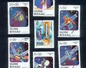 Space Postage Stamps - Guinea-Bissau & Hungary - Collage, Mixed Media, Artist Trading Cards
