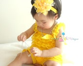 Spring Yellow Petti lace Romper, baby clothing, newborn romper, baby girls birthday outfit, Photography props, baby romper, Spring outfit