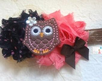 Baby Headband / Black Bubblegum Owl Headband / Bubblegum Owl Girls headband / Baby Headbands / Baby Photo Props, infant headband