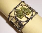 tree of life bracelet cuff green agate cuff bracelet tree of life bracelet wire wrapped jewelry handmade wire wrapped cuff bracelet