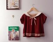 The Wayfarer - Sailor Collar Tshirt in Cranberry
