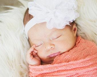 15% off Large White Lace Flower Headband, for Newborn to Toddler. Newborn Photo prop, First birthday headband.