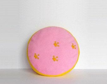 Paw print pillow, dog paws pillow, dog footprints pillow, round pink pillow, nursery room pillow, childrens pillow