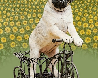 Digital Print Illustration Print Art Poster Acrylic Painting Kids Decor Drawing Illustration Gift : Pug on bicycle