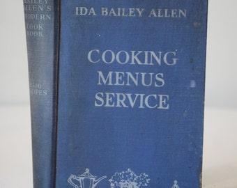 Vintage Cookbook, Ida Bailey Allen, Cooking Menu Service