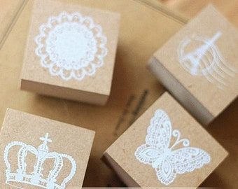 4 pcs Lace Stamp Set -- Wooden Rubber Stamp Set -- Korean Stamps -- Deco Stamps