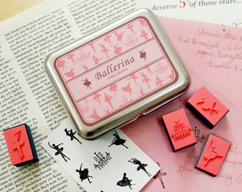 Ballerina Stamp Set -- Rubber Stamp in Tin Box -- Korean Stamps -- Diary Stamps