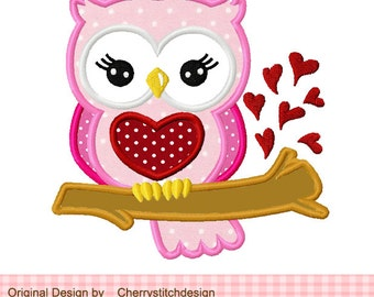 Owl Valentine's Day Owl Machine Embroidery Applique Design - 4x4 5x5 6x6""