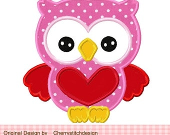 Valentine's Day Sweet Owl 02 Applique -4x4 5x7 6x10-Machine Embroidery Applique Design