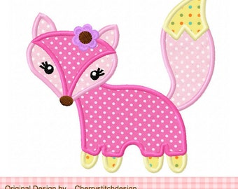 Fox Machine Embroidery Applique Design 03 -4x4 5x5 6x6""