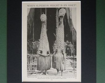 Vintage 1930s Papuan Witch Doctors Matted Print - Witchdoctor - Papua New Guinea - Sinister - Weird - Creepy - Tribal - Black & White - Tal