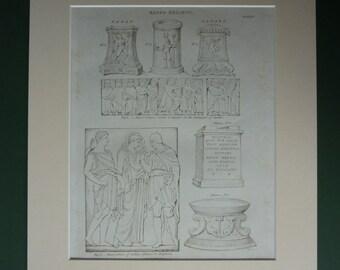 Original 1820 Ancient Relief Sculptures Matted Print - Greece - Roman - Classical Art - Architecture - Antiope - Georgian - Amphion