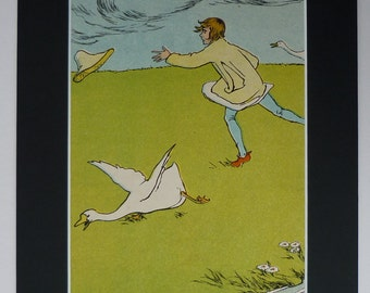 Vintage 1929 Helen Stratton Goose Girl Matted Print - Brothers Grimm - Fairytale - Fairy Tale - Conrad - Fantasy - Geese