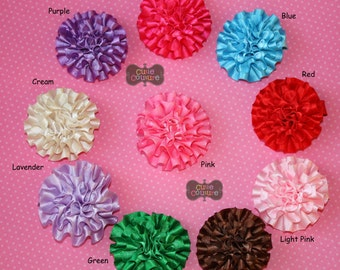 PICK ONE-Ruffle Satin Flower-Child-Baby Clip-Bang Clip-Boutique Style-Toddler Barrette