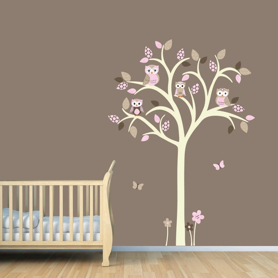 Owl tree decal Owl tree wall sticker Owl Nursery Art owl