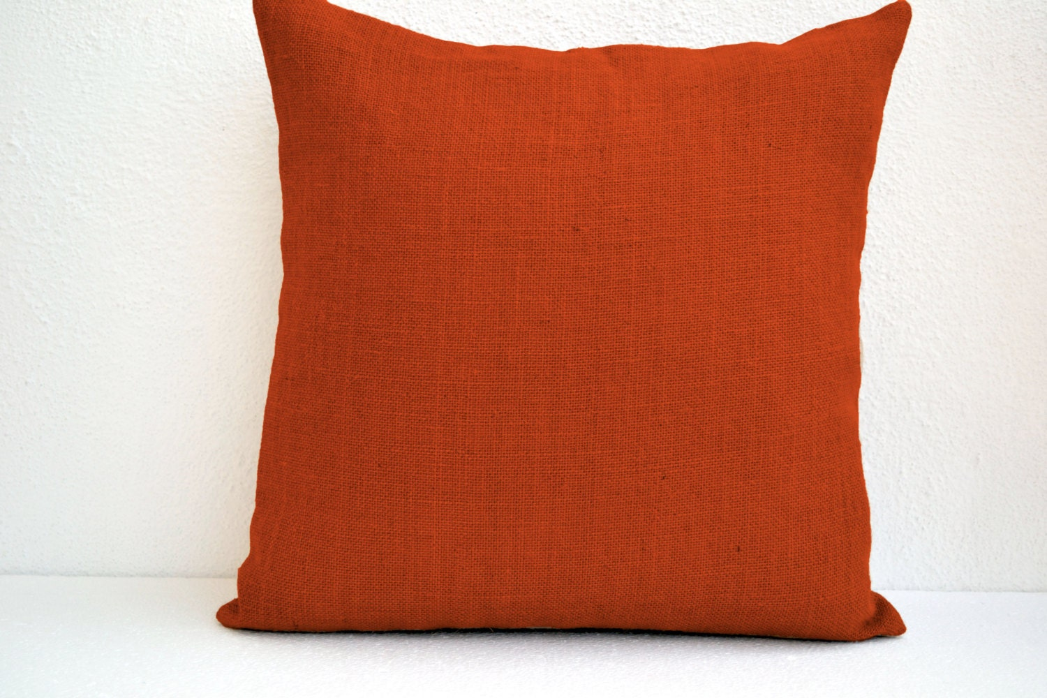 Orange Decorative Pillows Couch : Orange Burlap Throw Pillow Cover Decorative Pillowcase