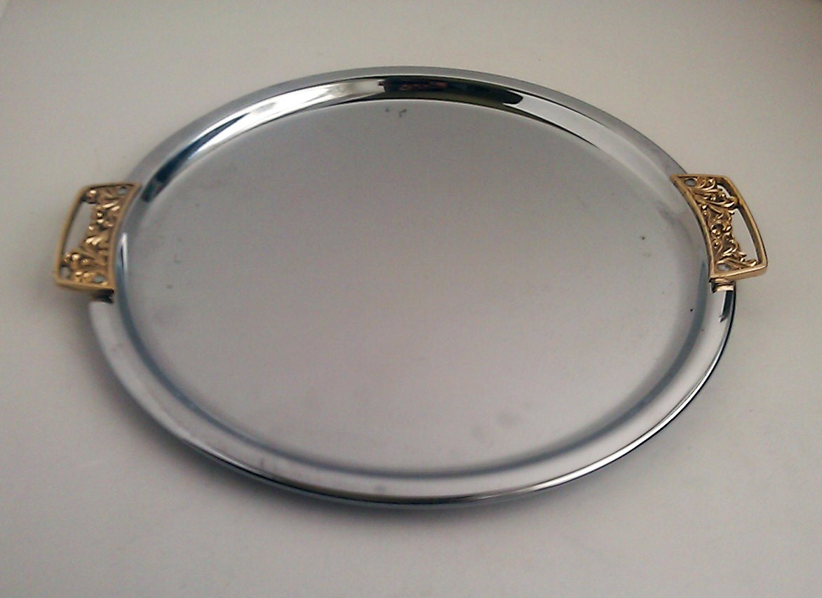 Vintage Kromex Round Tray Stainless Steel Silver By