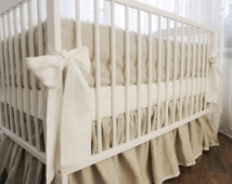 Linen  nursery bedding - gathered skirt