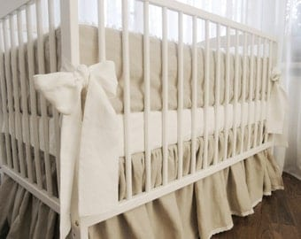 Linen  crib  bedding - gathered skirt