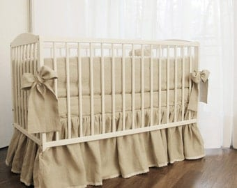 Linen Crib bedding - gathered skirt and 4 side bumper- linen nursery bedding, natural linen