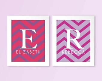 TWINS Baby Girl Monograms Nursery Wall Art Prints in Chevron - Twin Nursery or Kids Room Modern Wall Art - Shown in Pink & Purple Sampled