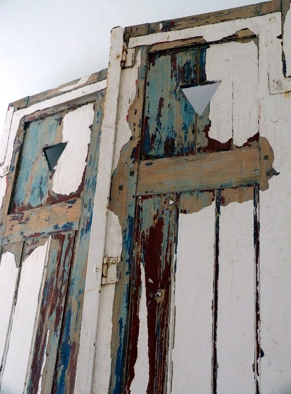 Items similar to vintage french distressed shutter doors on etsy for Distressed wood interior doors