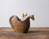 Vintage Folk Art  Wooden Horse Cup / Hand Carved Cup