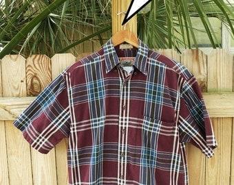 Adirondack Vintage Short Sleeve Plaid Shirt // Mens Sz Small