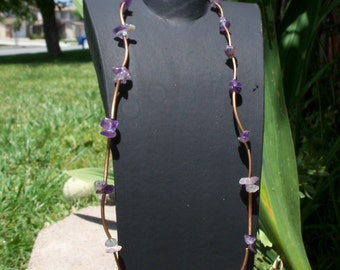Amethyst Chip with Copper Spacer Tubes Necklace