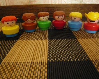Six Vintage Fisher Price Chunky Little People 1990 ( Lot  2)