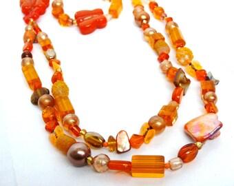 Bright Orange Butterfly Mix Necklace & Bracelet Set