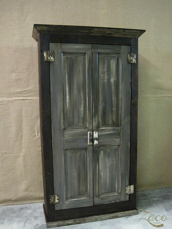 Storage Armoire / Cabinet / Wardrobe built with Reclaimed Wood and Doors.  Shown in Graphite - Storage Armoire / Cabinet / Wardrobe Built With Reclaimed Wood