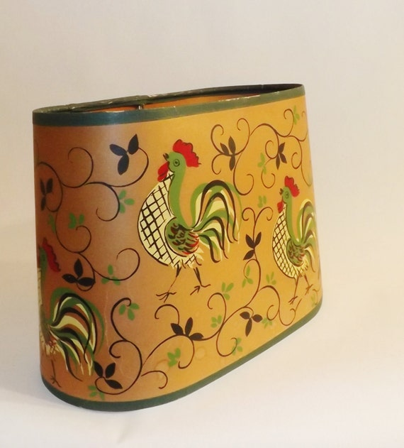 Metal Clip On Lamp Shade: Vintage Rooster Paper Lamp Shade Clip On